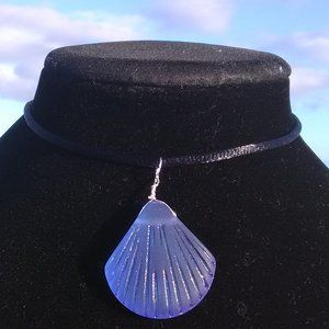 Carved Blue Sea Glass Sea Shell Necklace